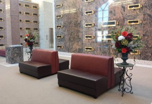 Mausoleum Decor, Leather Bench, Fall Flowers
