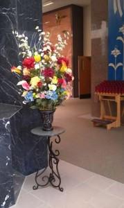 Mausoleum Decor, Green Granite Table, Flowers, Spring