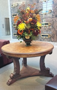 Mausoleum Decor, Peruvian Table, Fall Flowers