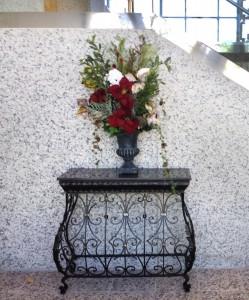 Mausoleum Decor, Granite Table, Winter Flowers