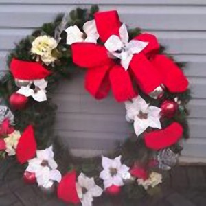 Wreath, Red White, Decorated 6ft
