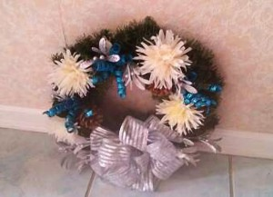 Wreath, Silver Blue, Decorated 24inch